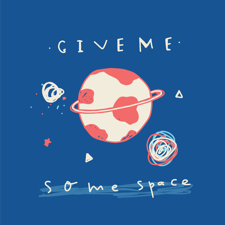 Give me some Space poster print with rocket, stars and lettering. Can be used for t-shirt, clothes