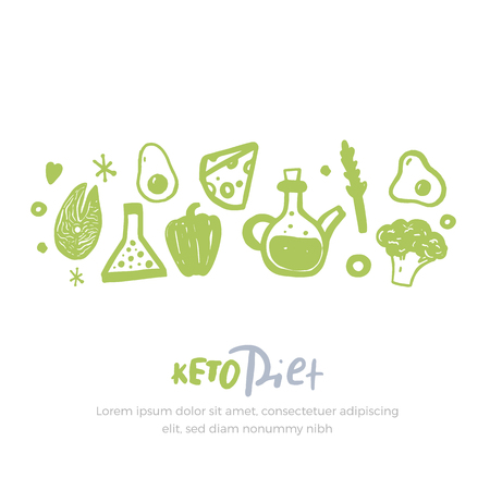 Sketch keto diet banner with lettering on white Stock Photo