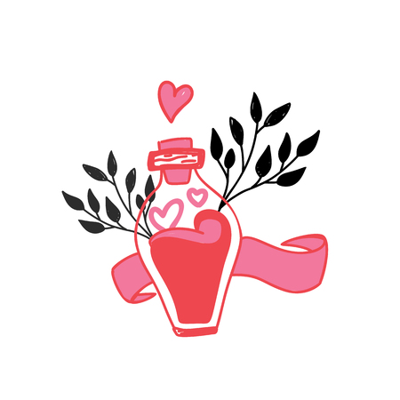 Love bottle greeting card with cute cartoon heart. Valentine Day poster concept