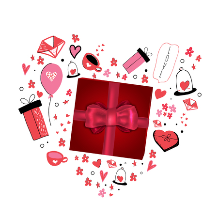 Love you greeting card with cute cartoon heart. Valentine Day poster concept