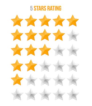 Yellow 5 star rating isolated on white Ilustração
