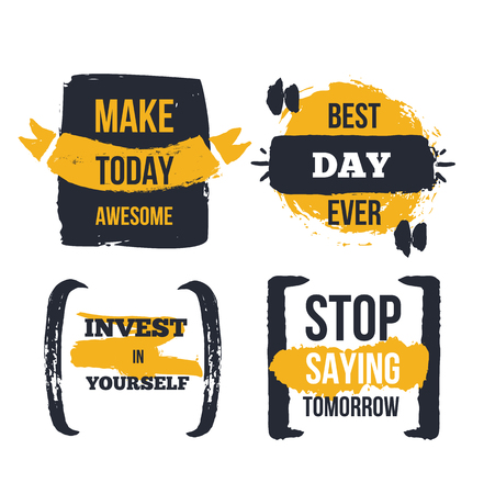 Motivational poster quote set. Modern business success inspiration with grunge frames and signs Illustration