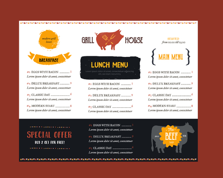 fast food menu in modern style with pig on background. BBQ poster template for restaurant.