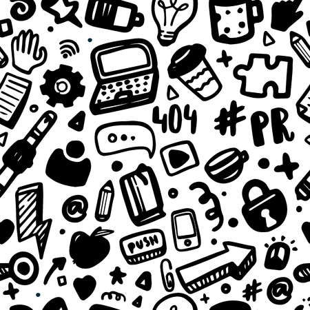 Social media seamless pattern for site background in doodle style. PR concept for blog.