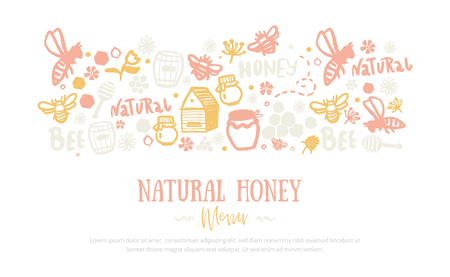 Modern honey banner .Grunge yellow advertising with two sides pattern. Organic design template.