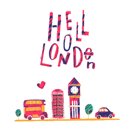 Hollo London poster illustration with bus, taxi, cityscape landscape for t shirt.