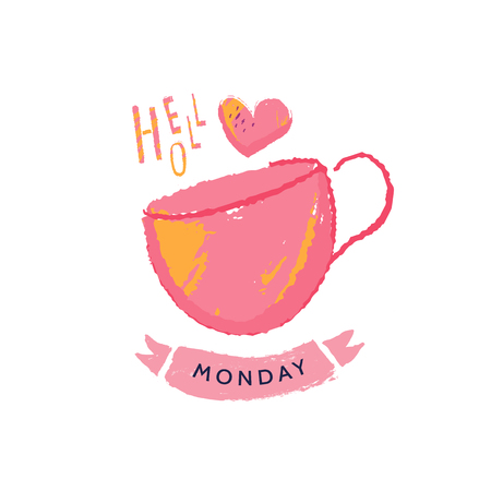 Hello Monday. Typography inspirational quote poster for office, celebrate beginning of the week. Simple typography card for social media promotion, wall print.
