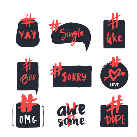 Hashtag bubble collection with hand drawn lettering words like, omg, sorry, boo. Dialogue quote collection