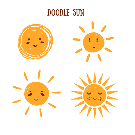 Emoji doodle sun collection, smiling sign of summer, good weather. Cartoon morning symbol.