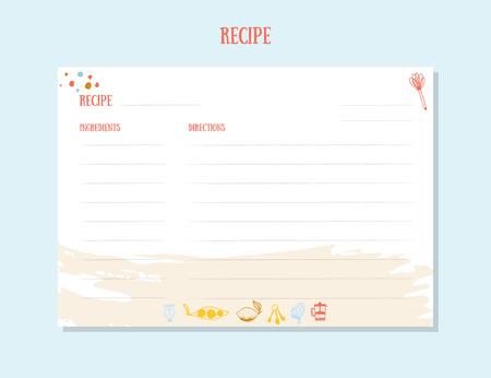 Modern Recipe card template set for cookbook.