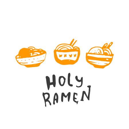 Grunge ramen icon logo design isolated on white