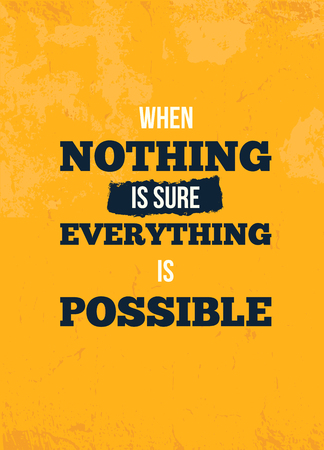 Everything possible quote. Motivational wall art on yellow Standard-Bild - 120764422