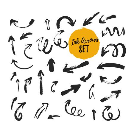 Grunge arrow set with sketch rough black icons. Hand drawn strokes Reklamní fotografie - 123237136