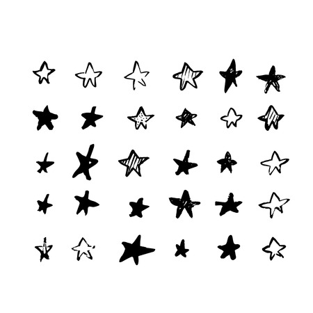 Grunge star vector design. Isolated stamp shape, brush tecture for your design.