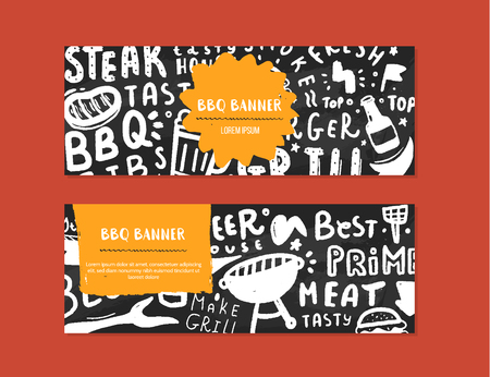 Modern bbq banner set with lettering and space for text. Grill barbecue food design
