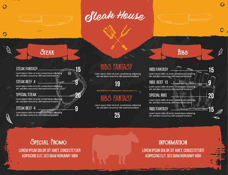 Steak menu design. BBQ grill poster with sketch icons. Barbecue cafe design on chalkboard. Ilustração