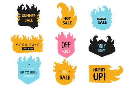 Fire flame price tag set. Rubber stamp in grunge style. Illustration
