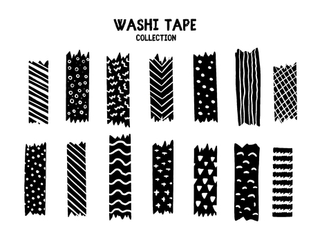 Modern Washi tape set with different patterns, black and white design.  イラスト・ベクター素材