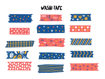 Modern Washi tape set with different patterns. Vettoriali