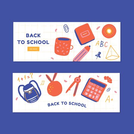 Back to school banners set.  イラスト・ベクター素材