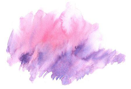 Mancha de acuarela abstracta. Textura dibujada a mano. Pintura morada Foto de archivo