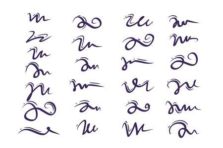 Satz von Hand gezeichneten Schriftzug und Kalligraphie wirbelt, Kringel. Vektortintendekorationen für Zusammensetzung