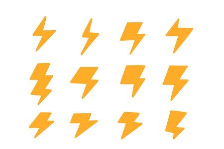 Zestaw ikon piorunów. Żółty znak promocji sprzedaży.