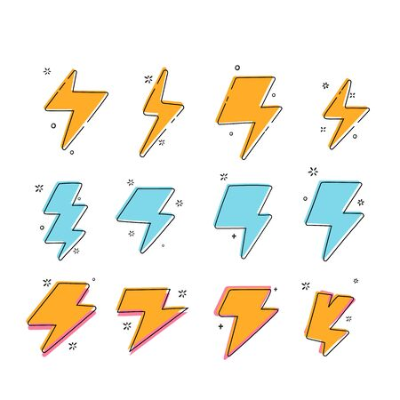 Thunderbolt icon set. Colorful sale promotion sign.