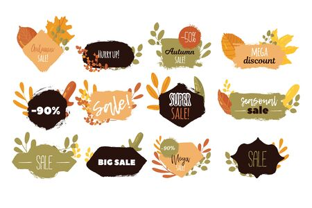 Autumn sale label  banner.