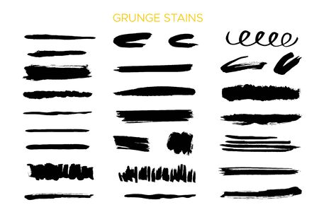 Grunge black stroke, ink brush texture, splash spot banner, element shape. Ilustracja