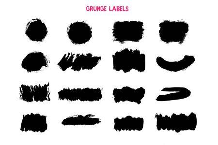 Trait noir grunge, texture de pinceau d'encre, bannière de tache d'éclaboussure, forme d'élément Vecteurs