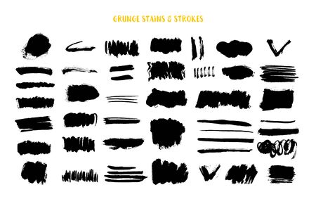 Grunge black stroke, ink brush texture, splash spot banner, element shape
