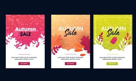 Autumn sale offer banner set with leaves on gradient