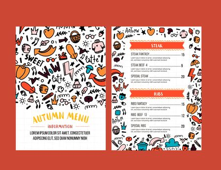 Autumn menu design. Fall promotion flyer with doodle colorful pattern 向量圖像