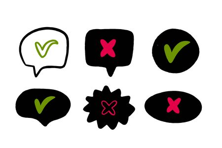 Doodle Red cross and green tick in speech bubbles isolated on white