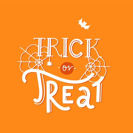 Trick or Treat lettering  with cobweb and bat on orange.