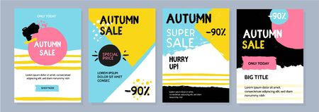 Modern bright autumn sale offer. Grunge promo template. Fall banner