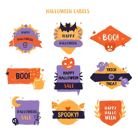 Grunge Halloween label set. Spooky badge collection. Promotion design with pumpkin, ghost Ilustrace