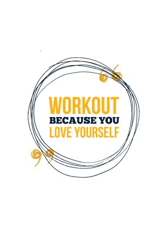 Workout poster design. Gym typography, banner wallpaper positive sport quotation
