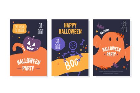 Halloween party poster invitation.