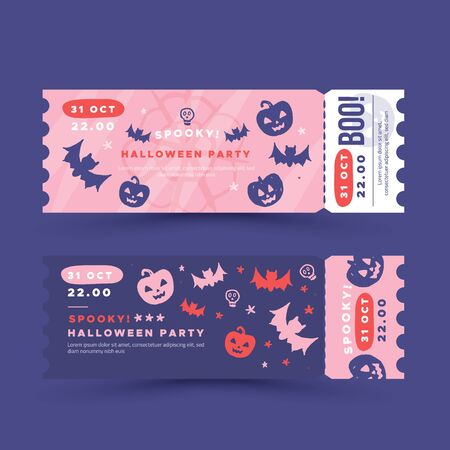 Halloween party invitation, ticket design.