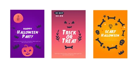 Halloween party poster invitation set. Pumkin, ghost decor. Spooky flyer collection. 向量圖像