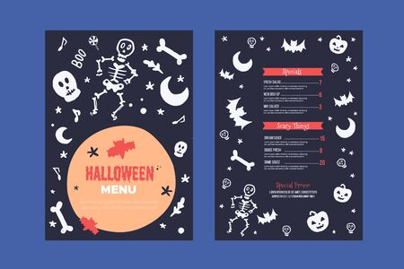Modern Halloween menu design. Food design for special holiday. Autumn background, spooky flyer for reastaurant.