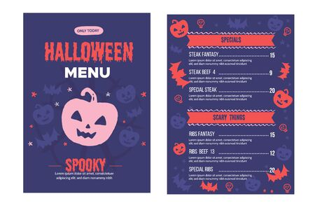 Modern Halloween menu design. Food design for special holiday. Ilustrace