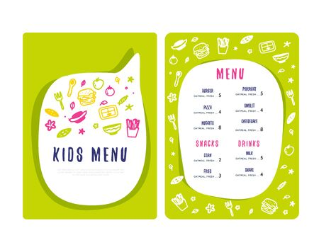 Kids Menu Doodle illustration. Simple Food Vector background. Brochure layout template design.