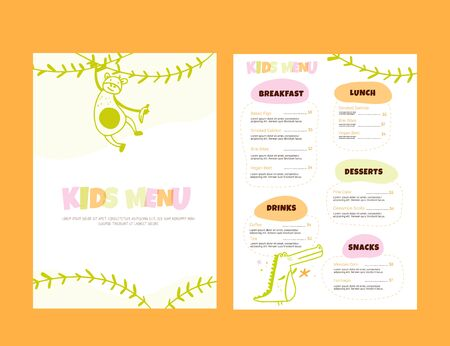 Kids Menu Doodle illustration with animals. Simple Food Vector background. Brochure layout template design