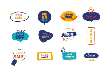 Modern Mega Sale deal grunge label, promo banner with circle, star background. Price tag badge, speech bubble