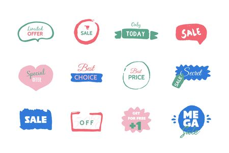 Modern Mega Sale deal grunge label, promo banner with circle, star background. Price tag badge, speech bubble.