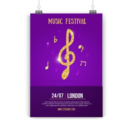Music poster design with golden notes and waves on dark gradient. Abstract jazz flyer.