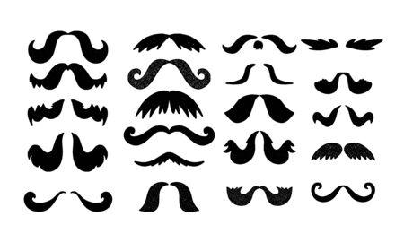 Vector moustache set. Man beard element. Hipster hair decoration Ilustrace